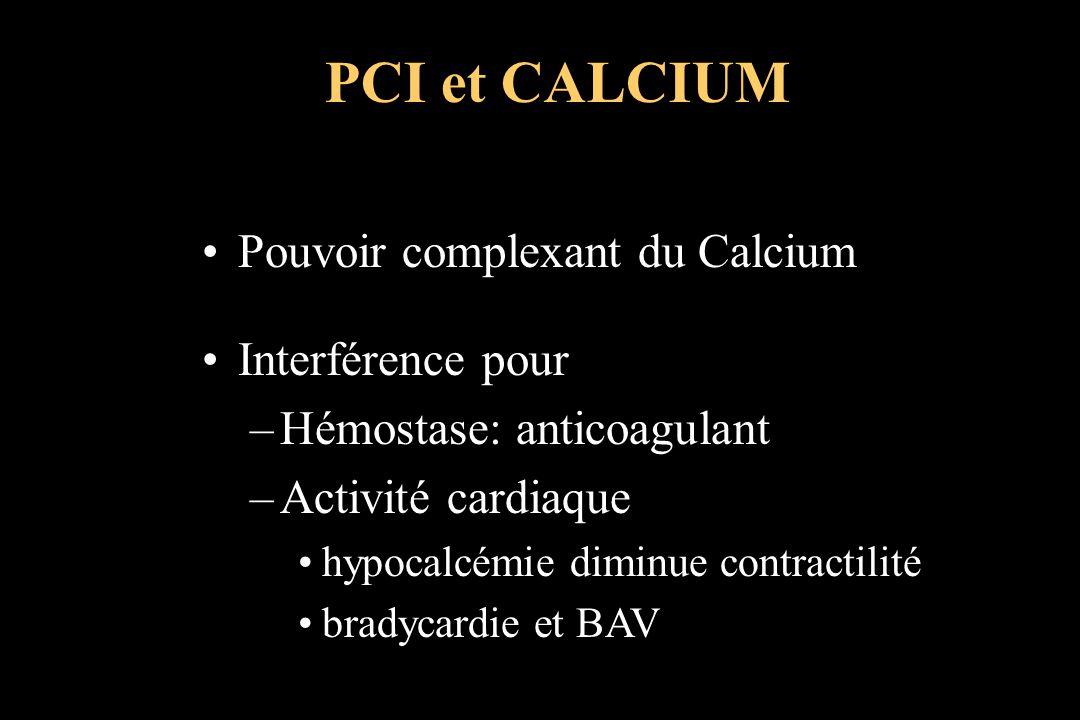 Pouvoir complexant du Calcium Interférence pour –Hémostase: anticoagulant –Activité cardiaque hypocalcémie diminue contractilité bradycardie et BAV PC