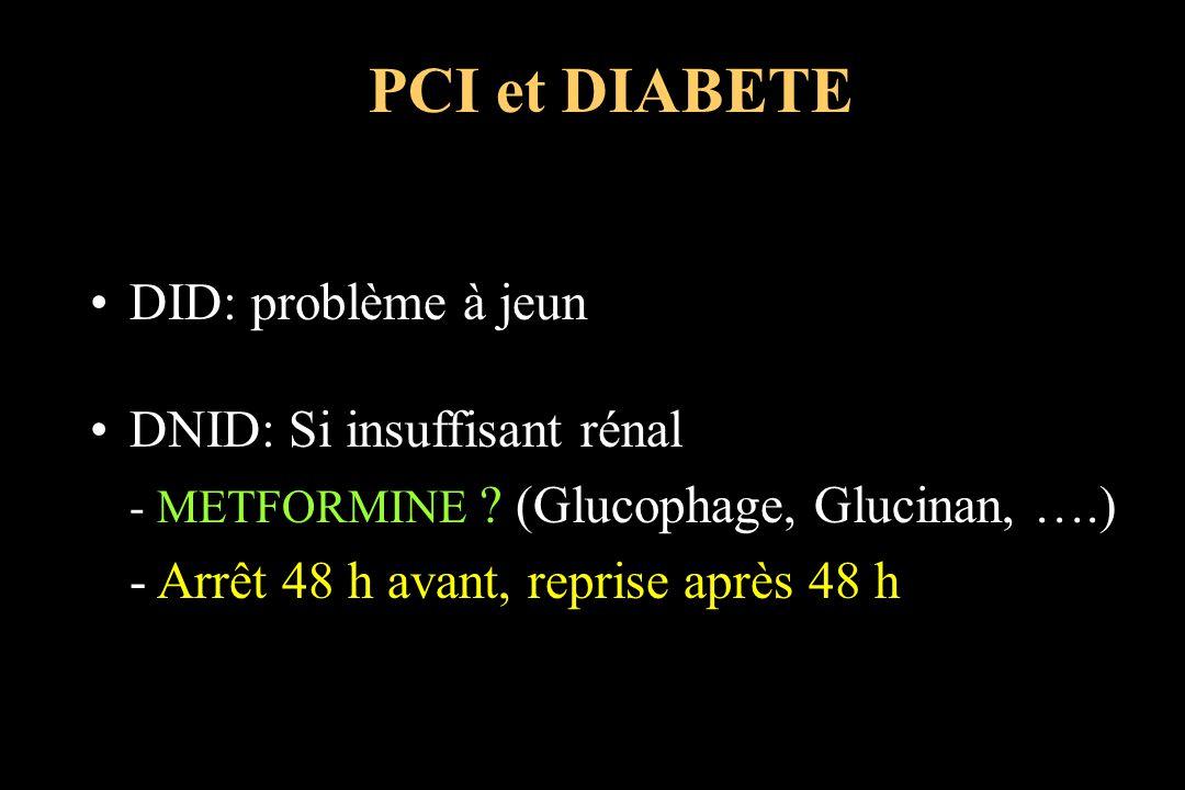 DID: problème à jeun DNID: Si insuffisant rénal - METFORMINE ? (Glucophage, Glucinan, ….) - Arrêt 48 h avant, reprise après 48 h PCI et DIABETE
