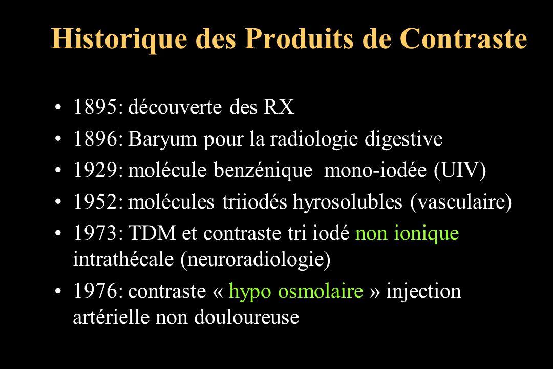 Historique des Produits de Contraste 1895: découverte des RX 1896: Baryum pour la radiologie digestive 1929: molécule benzénique mono-iodée (UIV) 1952