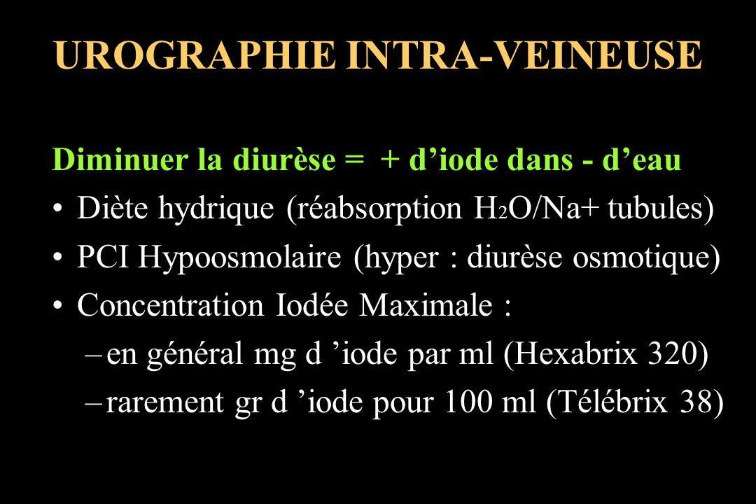 UROGRAPHIE INTRA-VEINEUSE Diminuer la diurèse = + diode dans - deau Diète hydrique (réabsorption H 2 O/Na+ tubules) PCI Hypoosmolaire (hyper : diurèse