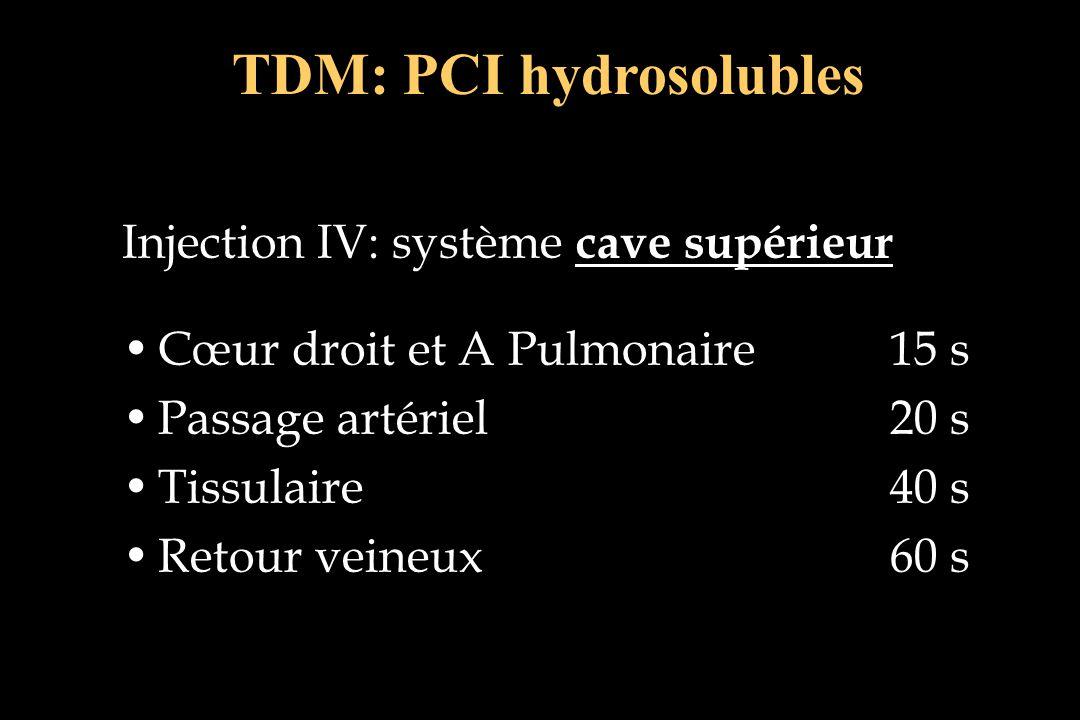 TDM: PCI hydrosolubles Injection IV: système cave supérieur Cœur droit et A Pulmonaire15 sCœur droit et A Pulmonaire15 s Passage artériel 20 sPassage