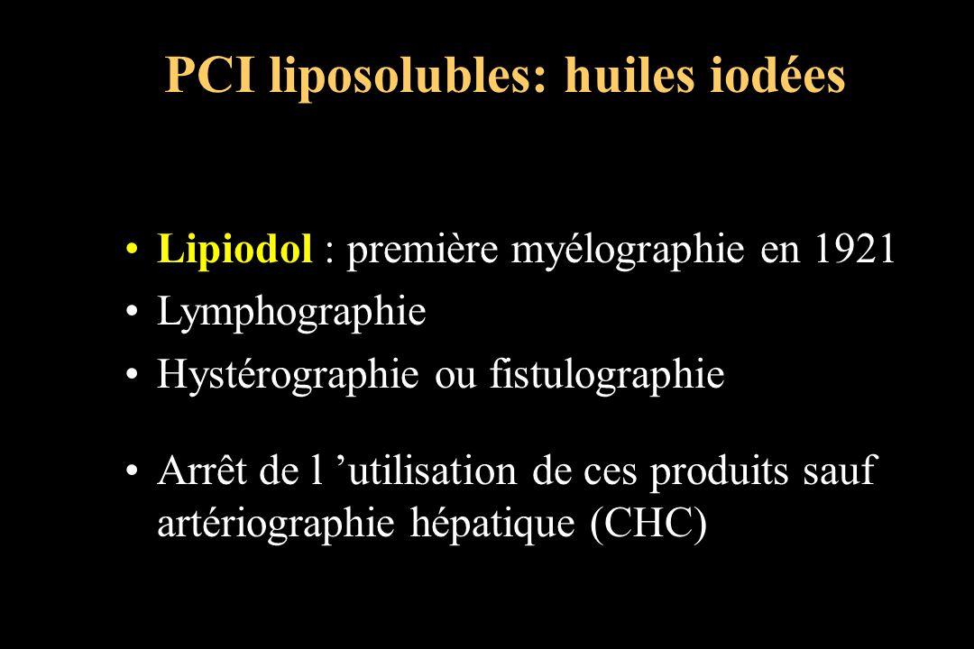 Lipiodol : première myélographie en 1921 Lymphographie Hystérographie ou fistulographie Arrêt de l utilisation de ces produits sauf artériographie hép