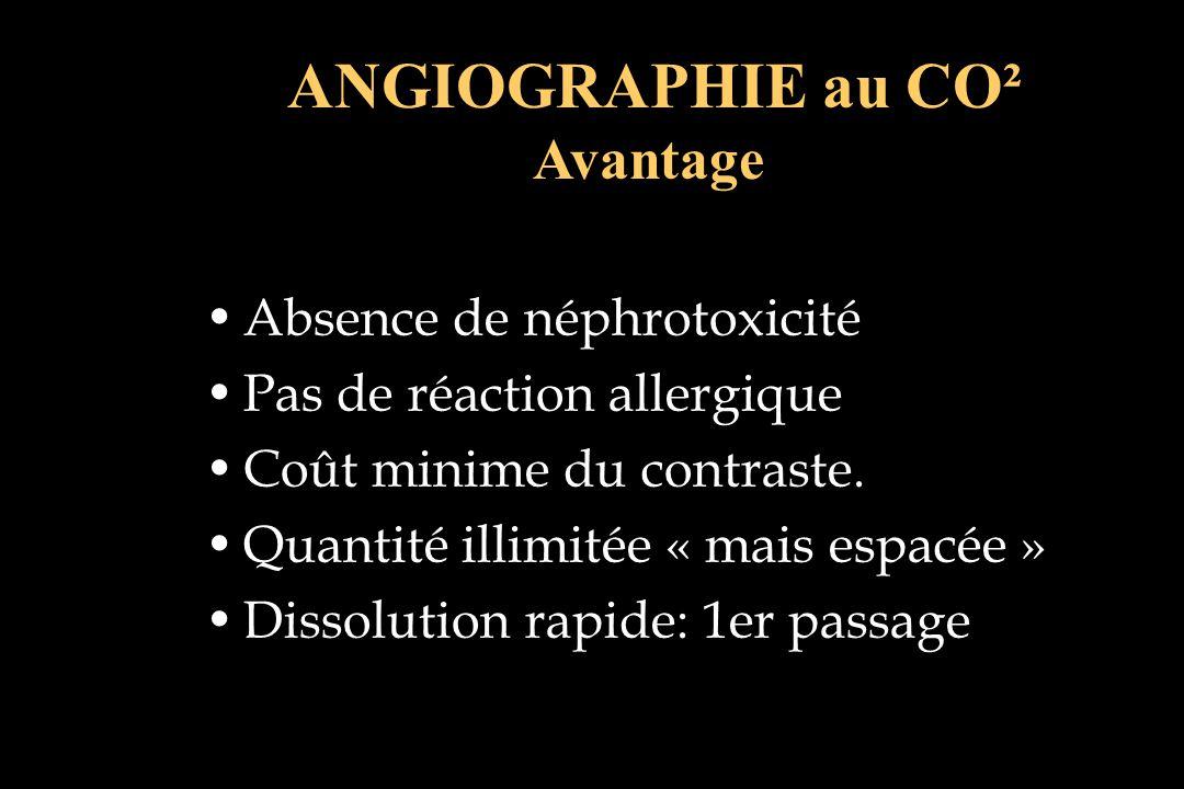 ANGIOGRAPHIE au CO² Avantage Absence de néphrotoxicité Pas de réaction allergique Coût minime du contraste. Quantité illimitée « mais espacée » Dissol