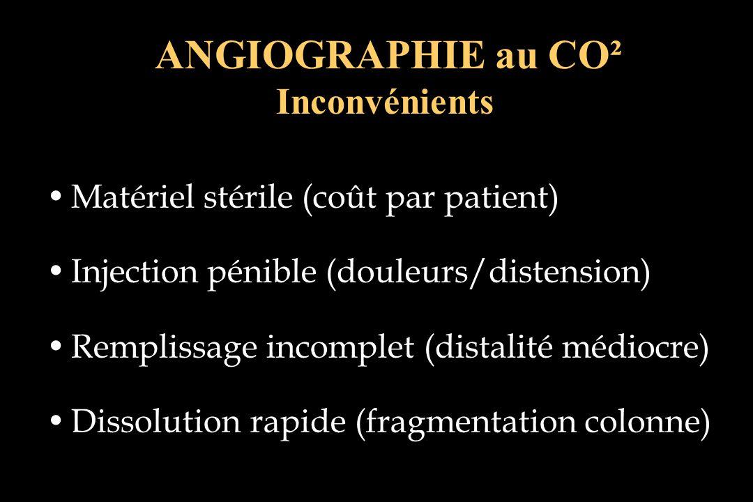Matériel stérile (coût par patient) Injection pénible (douleurs/distension) Remplissage incomplet (distalité médiocre) Dissolution rapide (fragmentati