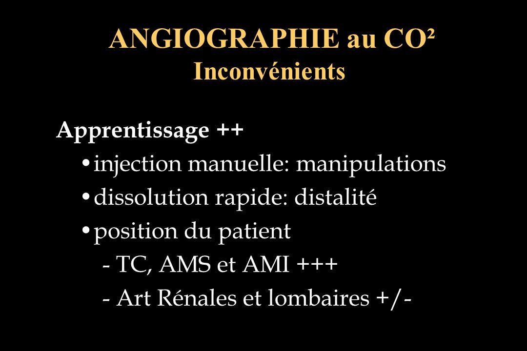 Apprentissage ++ injection manuelle: manipulations dissolution rapide: distalité position du patient - TC, AMS et AMI +++ - Art Rénales et lombaires +