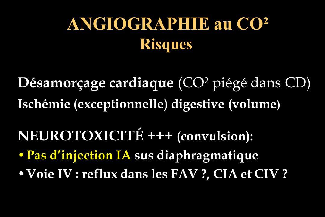 Désamorçage cardiaque (CO² piégé dans CD) Ischémie (exceptionnelle) digestive (volume ) NEUROTOXICITÉ +++ (convulsion): Pas dinjection IA sus diaphrag