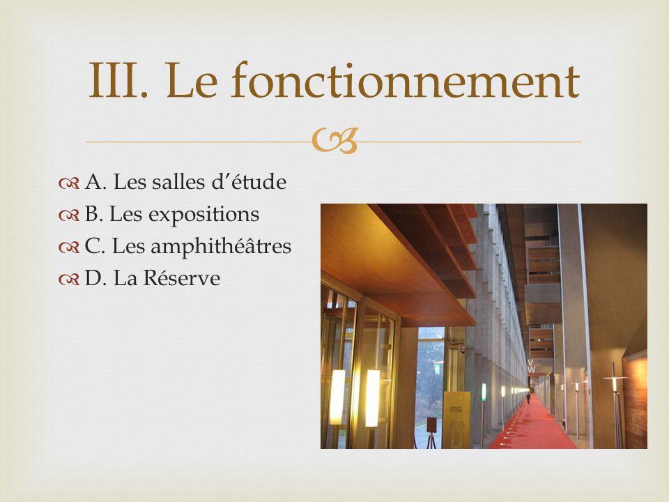 A. Les salles détude B. Les expositions C. Les amphithéâtres D. La Réserve III. Le fonctionnement
