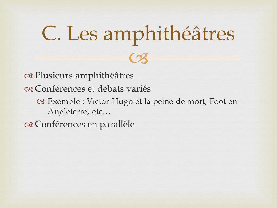 Plusieurs amphithéâtres Conférences et débats variés Exemple : Victor Hugo et la peine de mort, Foot en Angleterre, etc… Conférences en parallèle C.