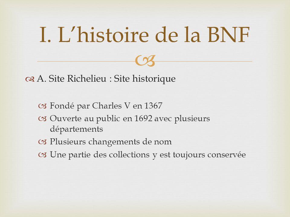 A. Site Richelieu : Site historique Fondé par Charles V en 1367 Ouverte au public en 1692 avec plusieurs départements Plusieurs changements de nom Une