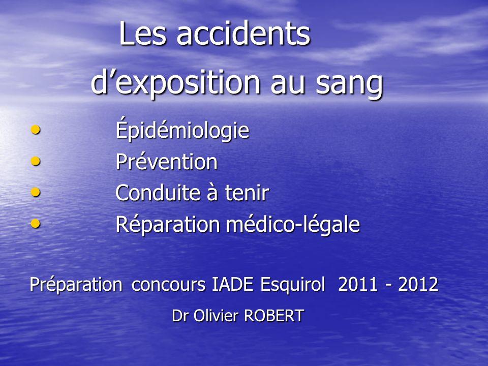 Les accidents dexposition au sang Les accidents dexposition au sang Épidémiologie Épidémiologie Prévention Prévention Conduite à tenir Conduite à teni