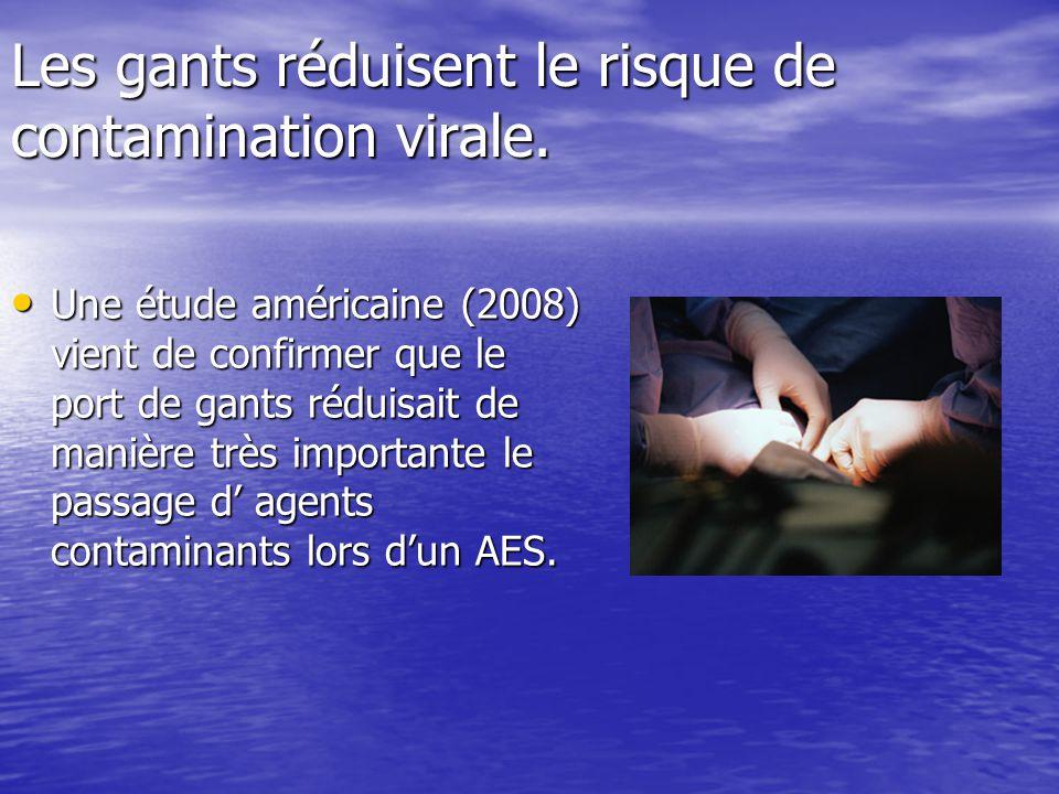 Les gants réduisent le risque de contamination virale. Une étude américaine (2008) vient de confirmer que le port de gants réduisait de manière très i