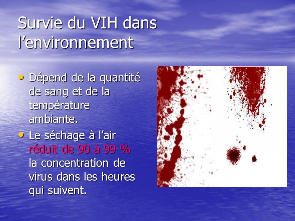 Survie du VIH dans lenvironnement Dépend de la quantité de sang et de la température ambiante. Dépend de la quantité de sang et de la température ambi
