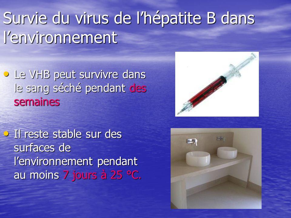 Survie du virus de lhépatite B dans lenvironnement Le VHB peut survivre dans le sang séché pendant des semaines Le VHB peut survivre dans le sang séch