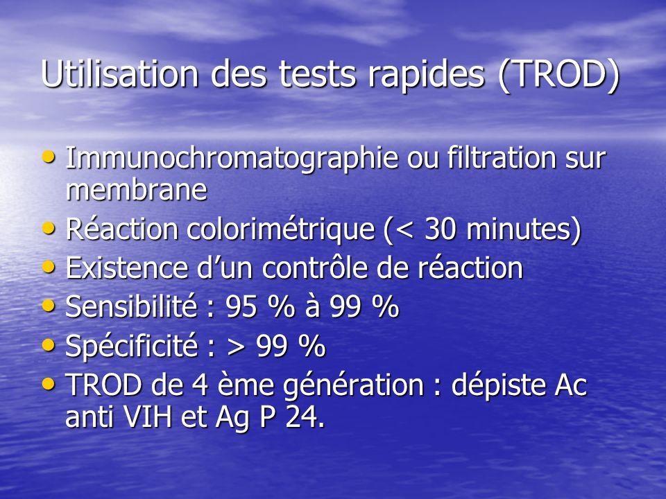 Utilisation des tests rapides (TROD) Immunochromatographie ou filtration sur membrane Immunochromatographie ou filtration sur membrane Réaction colori