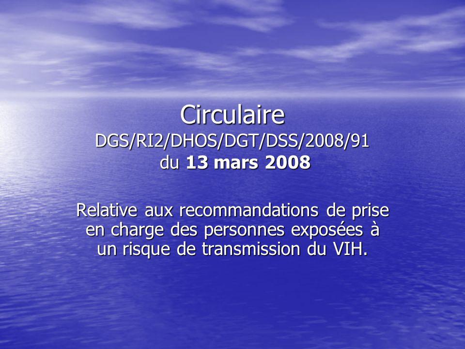Circulaire DGS/RI2/DHOS/DGT/DSS/2008/91 du 13 mars 2008 Relative aux recommandations de prise en charge des personnes exposées à un risque de transmis