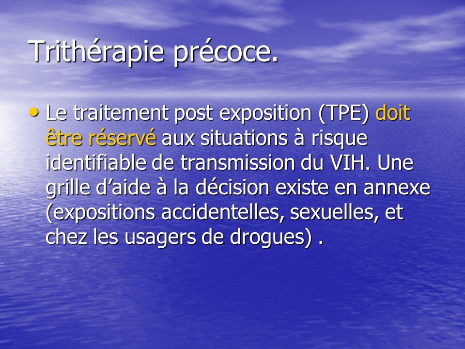 Trithérapie précoce. Le traitement post exposition (TPE) doit être réservé aux situations à risque identifiable de transmission du VIH. Une grille dai