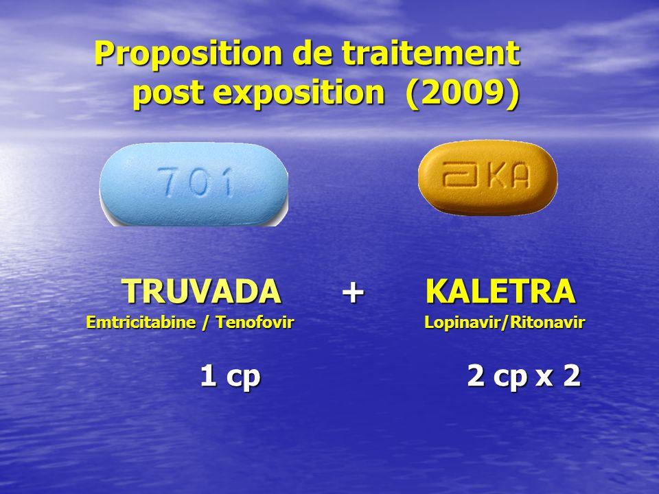 Proposition de traitement post exposition (2009) Proposition de traitement post exposition (2009) TRUVADA + KALETRA TRUVADA + KALETRA Emtricitabine /