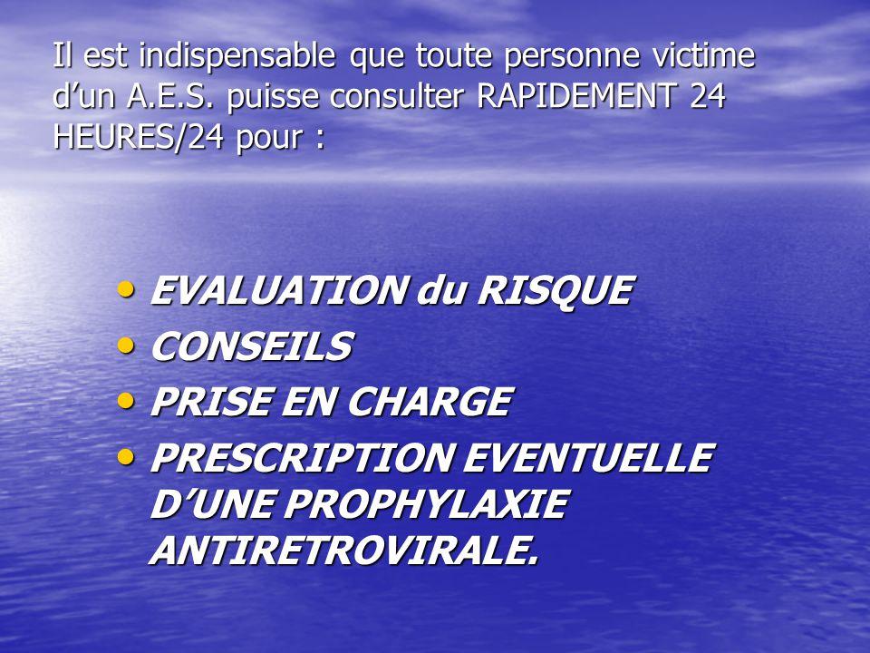 Il est indispensable que toute personne victime dun A.E.S. puisse consulter RAPIDEMENT 24 HEURES/24 pour : EVALUATION du RISQUE EVALUATION du RISQUE C
