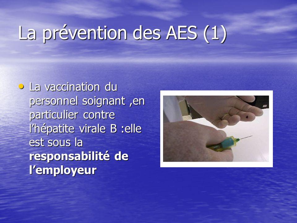 La prévention des AES (1) La vaccination du personnel soignant,en particulier contre lhépatite virale B :elle est sous la responsabilité de lemployeur