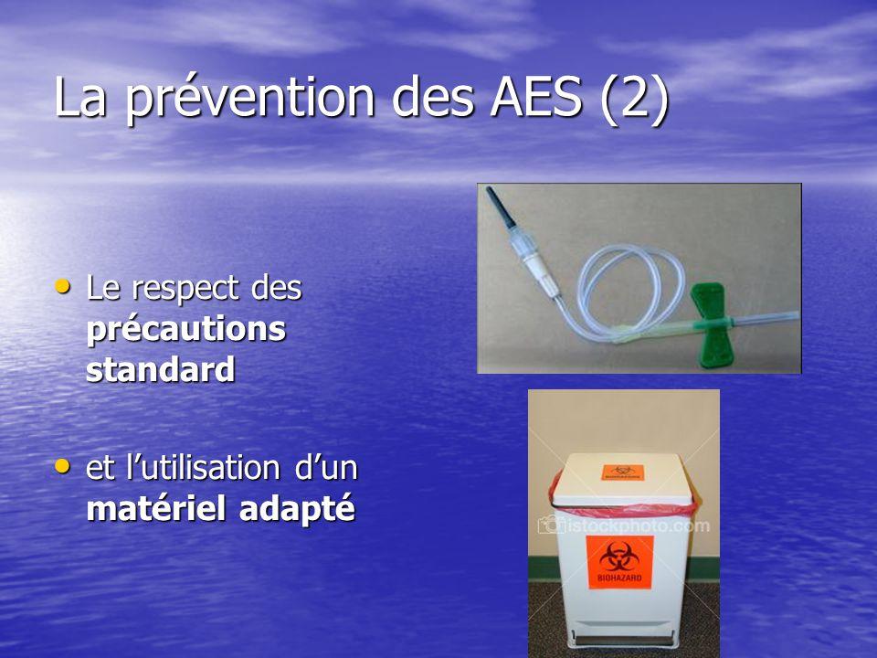 La prévention des AES (2) Le respect des précautions standard Le respect des précautions standard et lutilisation dun matériel adapté et lutilisation