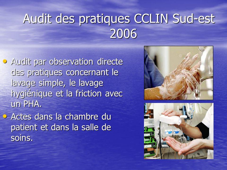 Audit des pratiques CCLIN Sud-est 2006 Audit par observation directe des pratiques concernant le lavage simple, le lavage hygiénique et la friction av