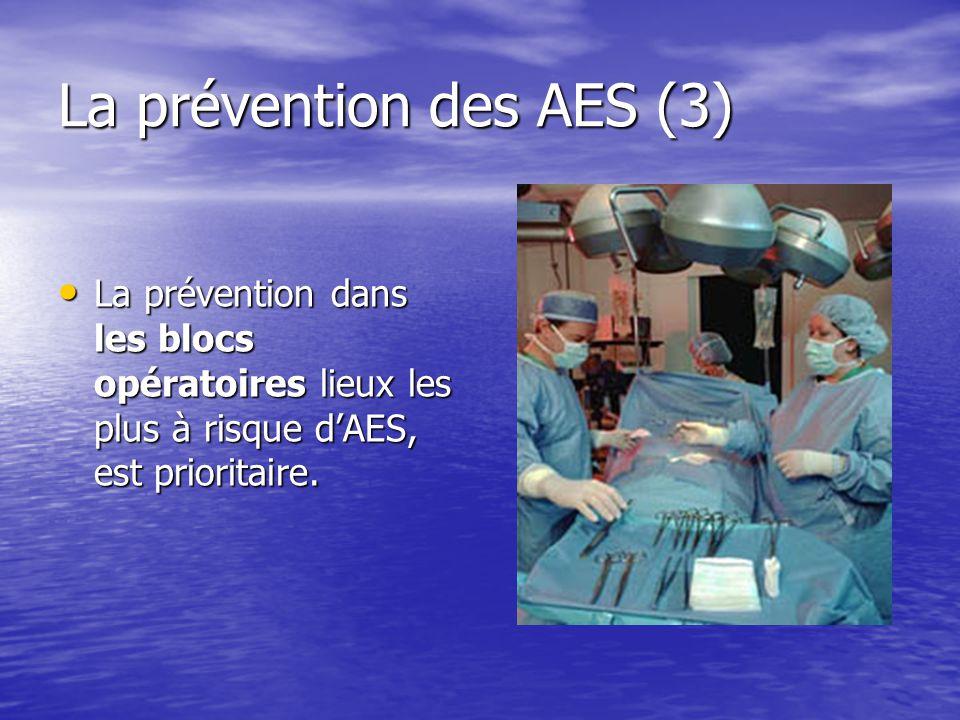 La prévention des AES (3) La prévention dans les blocs opératoires lieux les plus à risque dAES, est prioritaire. La prévention dans les blocs opérato