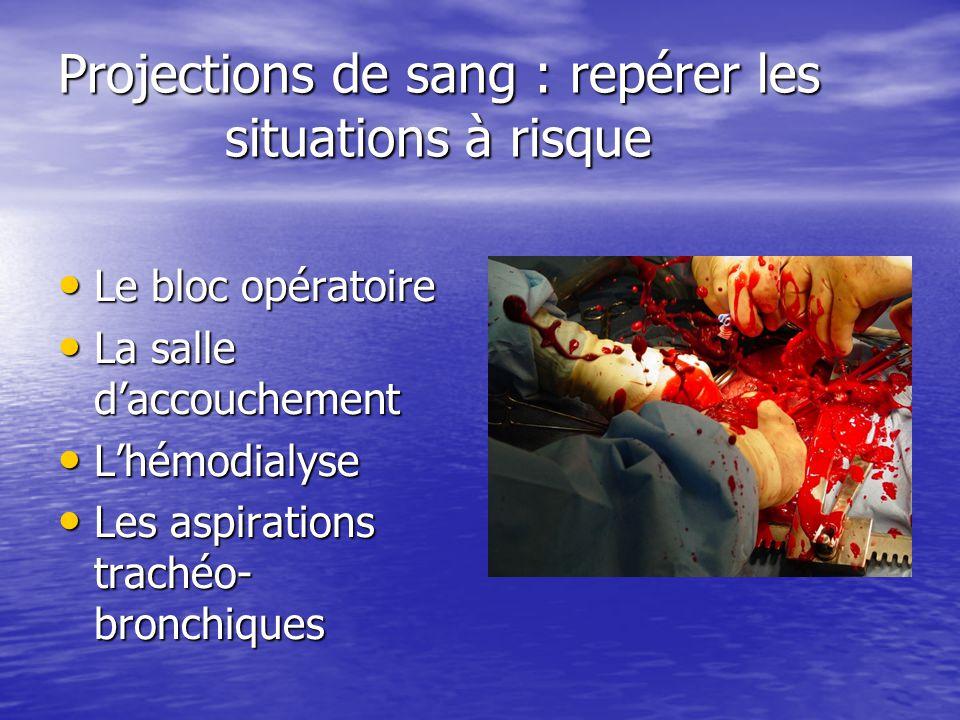 Projections de sang : repérer les situations à risque Le bloc opératoire Le bloc opératoire La salle daccouchement La salle daccouchement Lhémodialyse