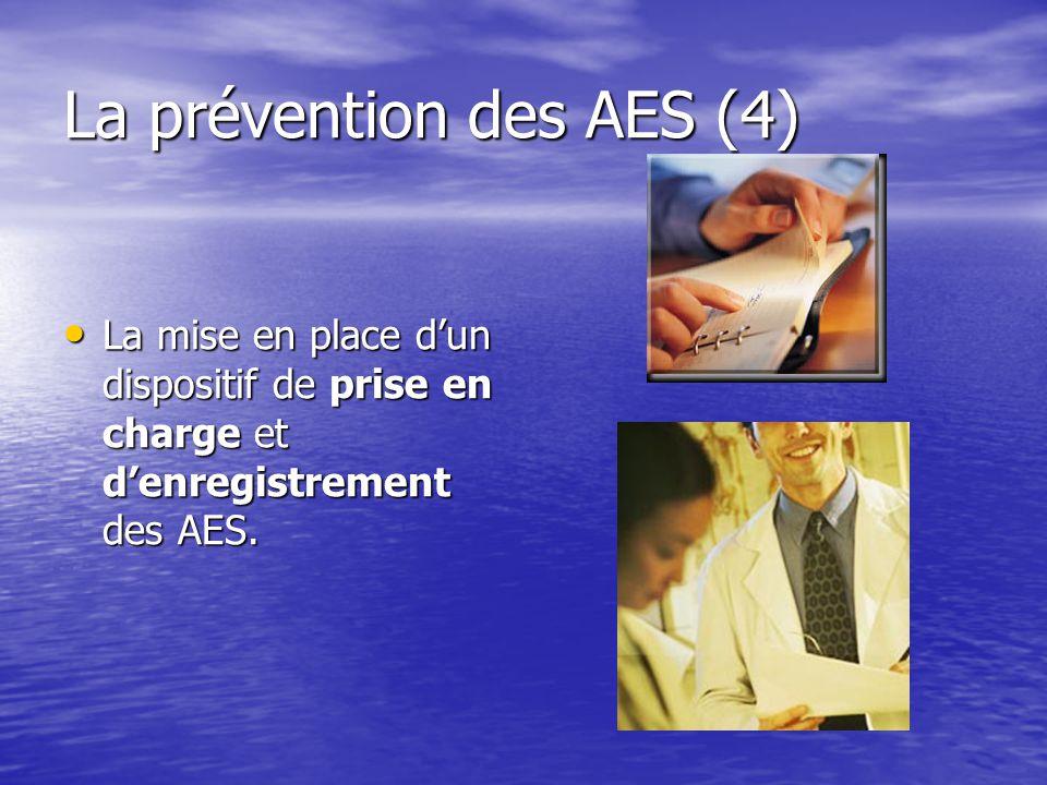 La prévention des AES (4) La mise en place dun dispositif de prise en charge et denregistrement des AES. La mise en place dun dispositif de prise en c