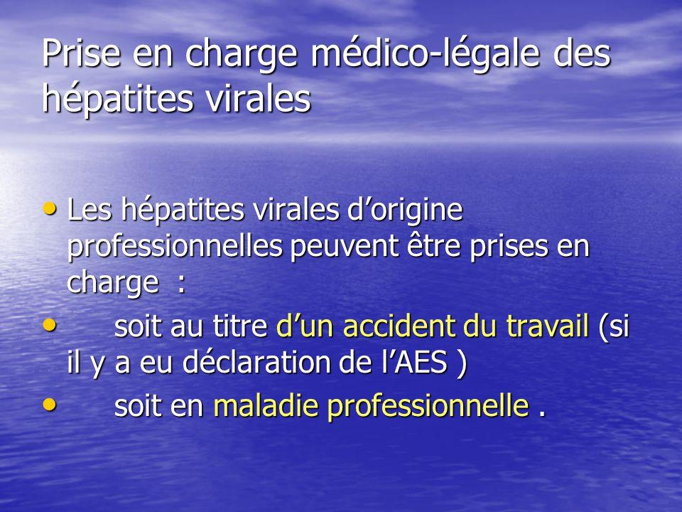 Prise en charge médico-légale des hépatites virales Les hépatites virales dorigine professionnelles peuvent être prises en charge : Les hépatites vira