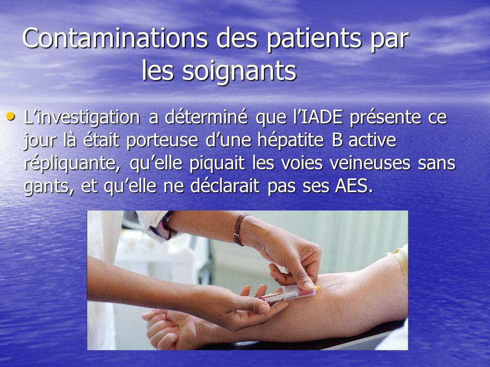 Contaminations des patients par les soignants Contaminations des patients par les soignants Linvestigation a déterminé que lIADE présente ce jour là é
