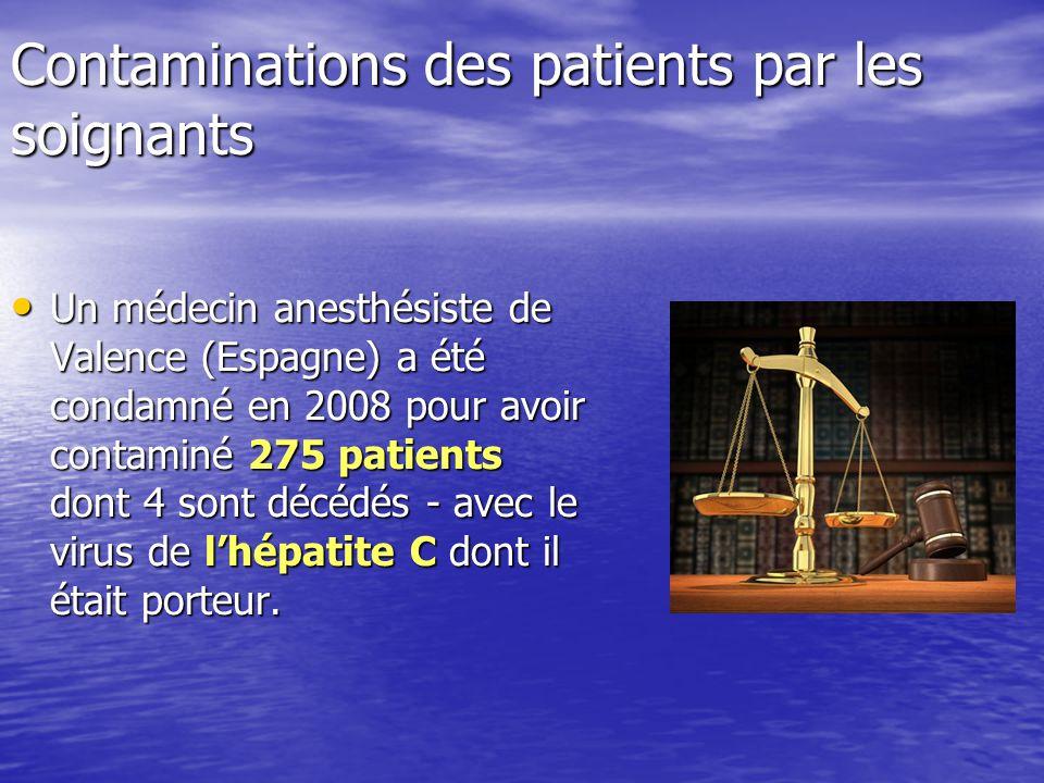 Contaminations des patients par les soignants Un médecin anesthésiste de Valence (Espagne) a été condamné en 2008 pour avoir contaminé 275 patients do