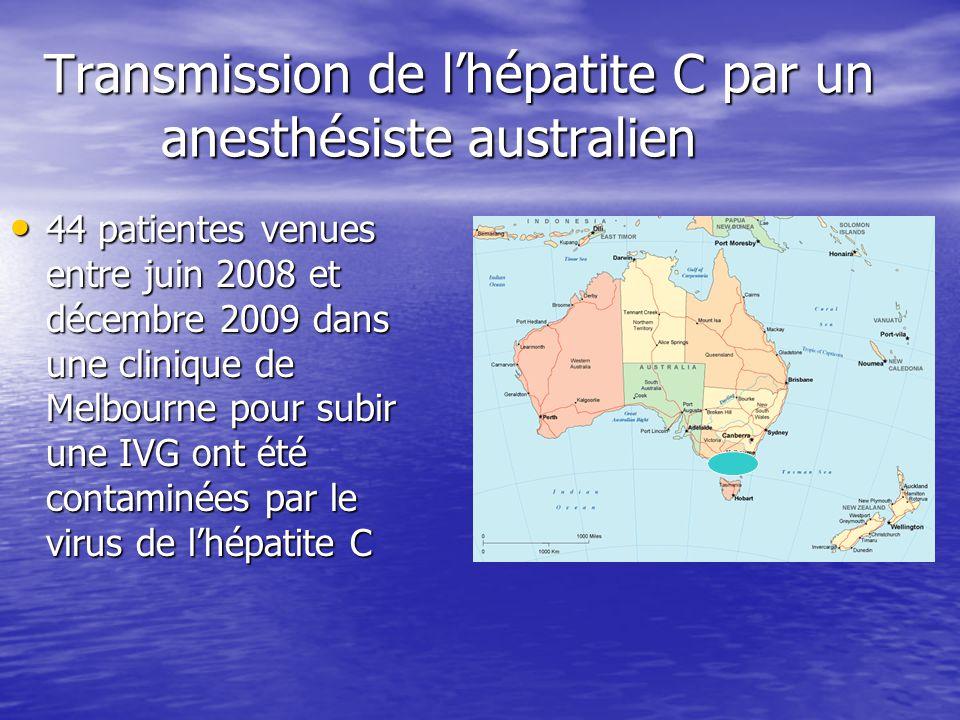Transmission de lhépatite C par un anesthésiste australien 44 patientes venues entre juin 2008 et décembre 2009 dans une clinique de Melbourne pour su