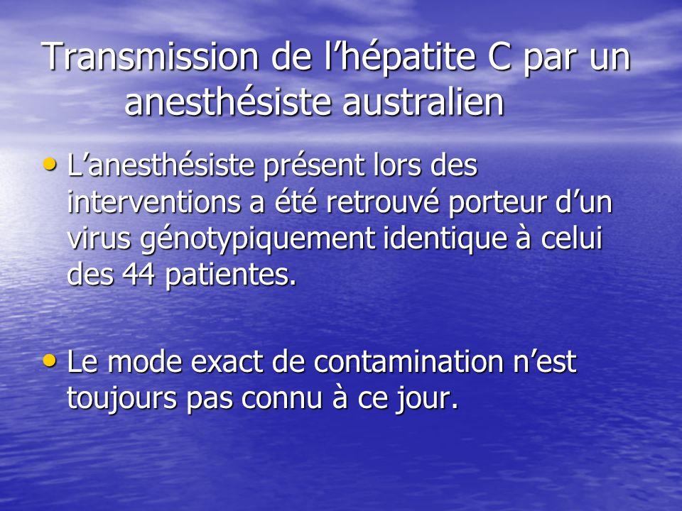 Transmission de lhépatite C par un anesthésiste australien Lanesthésiste présent lors des interventions a été retrouvé porteur dun virus génotypiqueme