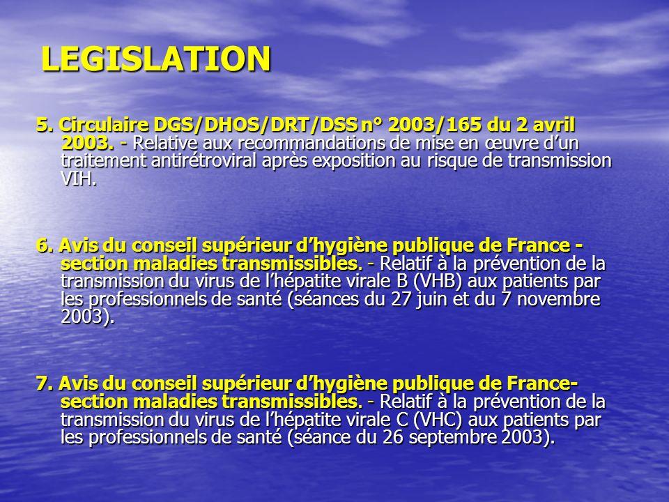 LEGISLATION 5. Circulaire DGS/DHOS/DRT/DSS n° 2003/165 du 2 avril 2003. - Relative aux recommandations de mise en œuvre dun traitement antirétroviral