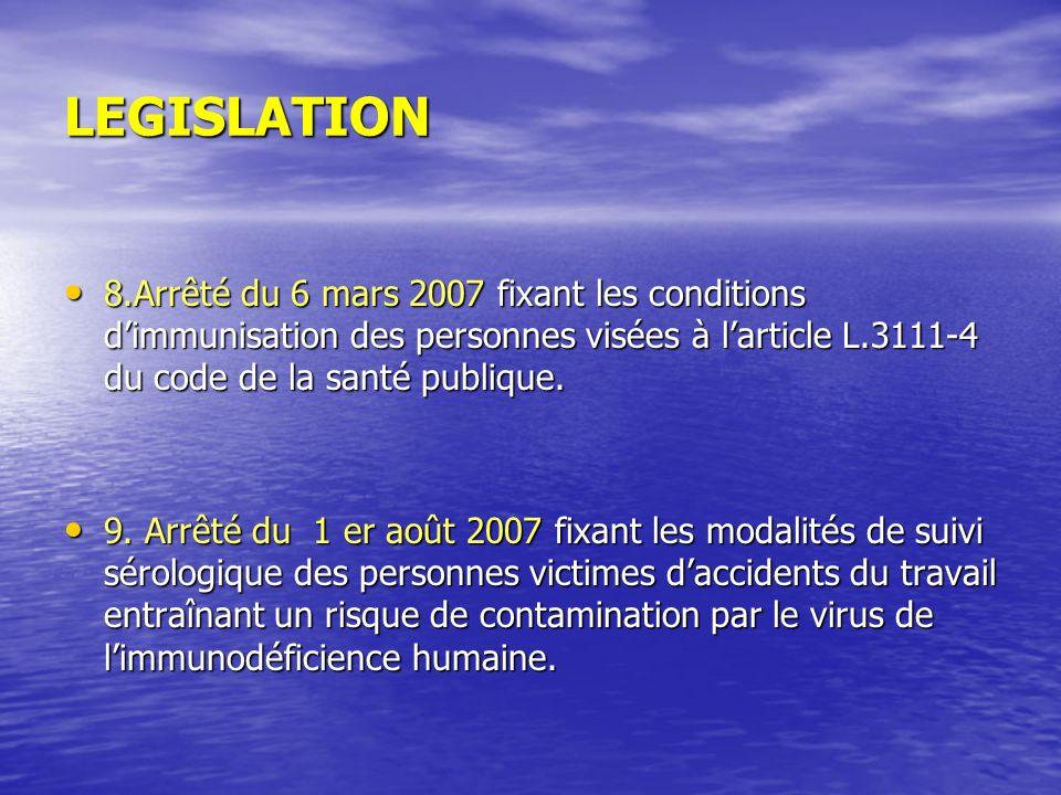 LEGISLATION 8.Arrêté du 6 mars 2007 fixant les conditions dimmunisation des personnes visées à larticle L.3111-4 du code de la santé publique. 8.Arrêt