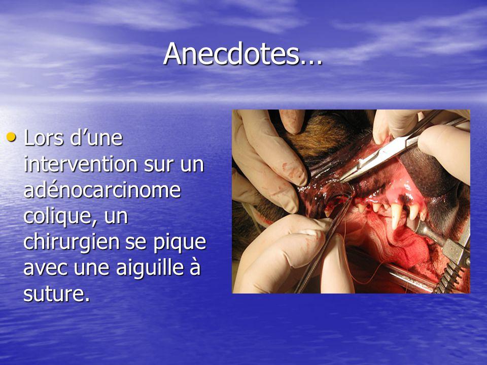 Anecdotes… Anecdotes… Lors dune intervention sur un adénocarcinome colique, un chirurgien se pique avec une aiguille à suture. Lors dune intervention