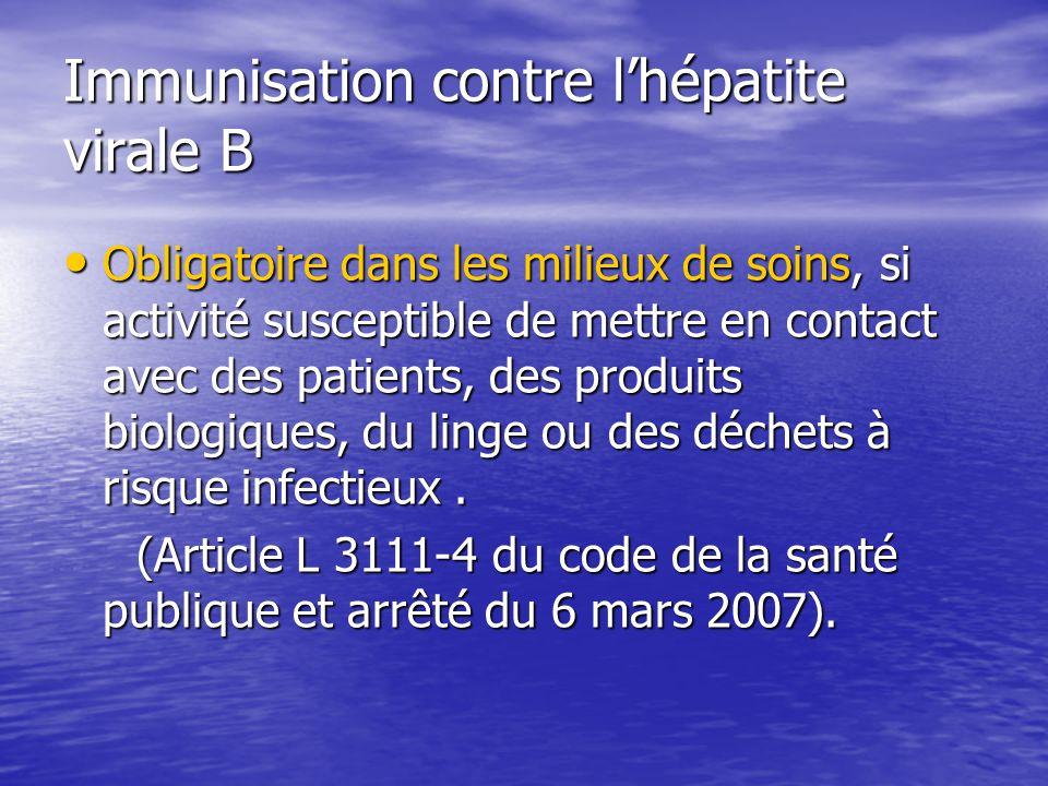 Immunisation contre lhépatite virale B Obligatoire dans les milieux de soins, si activité susceptible de mettre en contact avec des patients, des prod
