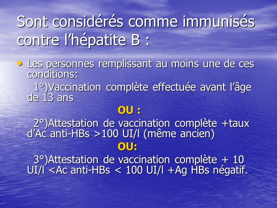 Sont considérés comme immunisés contre lhépatite B : Les personnes remplissant au moins une de ces conditions: Les personnes remplissant au moins une