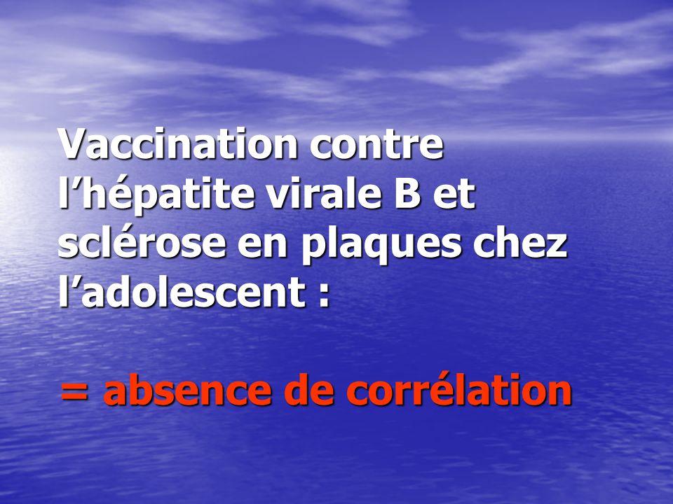Vaccination contre lhépatite virale B et sclérose en plaques chez ladolescent : = absence de corrélation