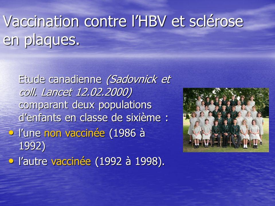 Vaccination contre lHBV et sclérose en plaques. Etude canadienne (Sadovnick et coll. Lancet 12.02.2000) comparant deux populations denfants en classe