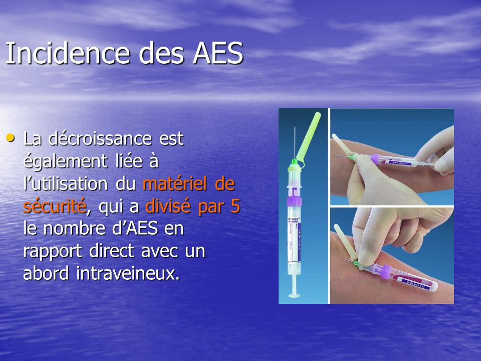 Incidence des AES Lincidence des AES en 2005 est de 8,8 AES pour 100 lits dhospitalisation ( 17 dans les CHU où le nombre de gestes invasifs par lit est plus important).