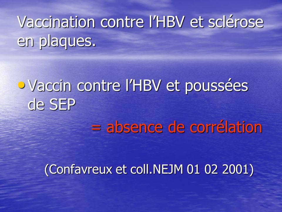 Vaccination contre lHBV et sclérose en plaques. Vaccin contre lHBV et poussées de SEP Vaccin contre lHBV et poussées de SEP = absence de corrélation =