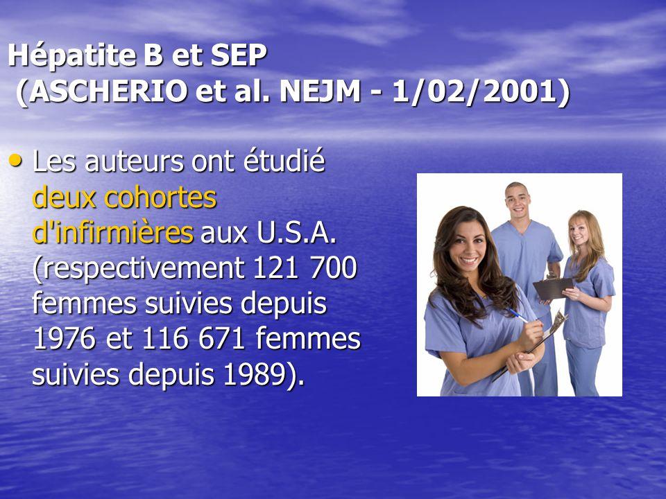 Hépatite B et SEP (ASCHERIO et al. NEJM - 1/02/2001) Les auteurs ont étudié deux cohortes d'infirmières aux U.S.A. (respectivement 121 700 femmes suiv
