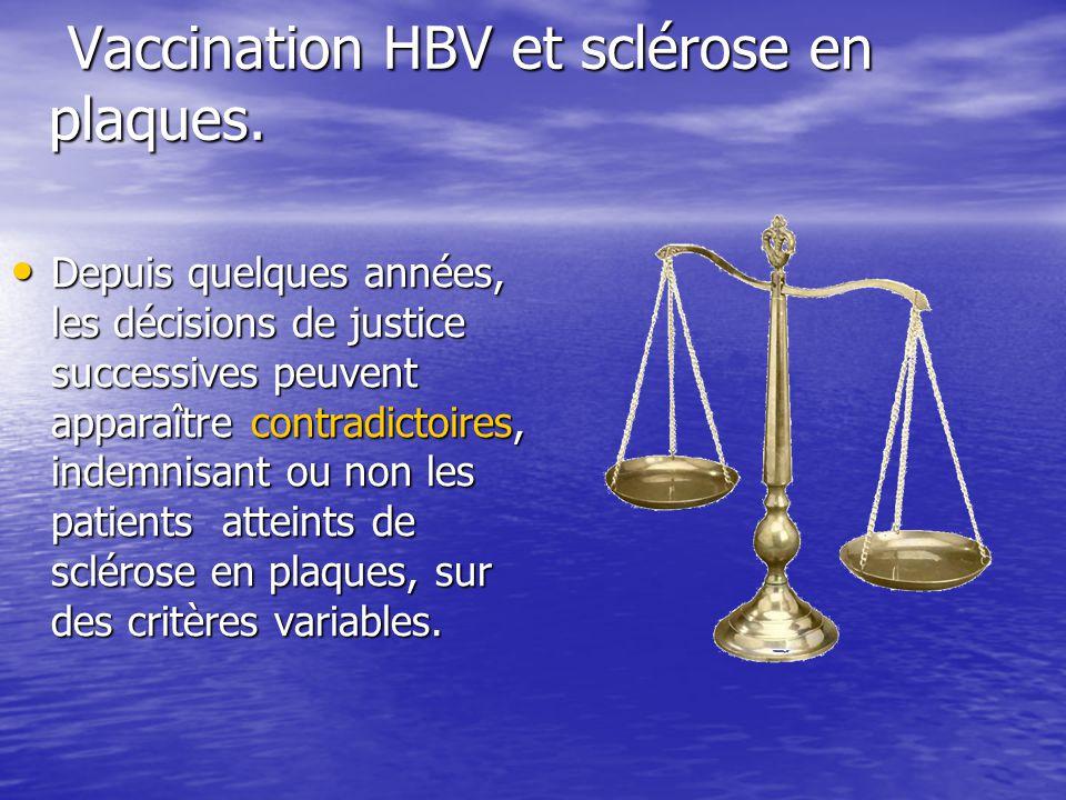 Vaccination HBV et sclérose en plaques. Vaccination HBV et sclérose en plaques. Depuis quelques années, les décisions de justice successives peuvent a