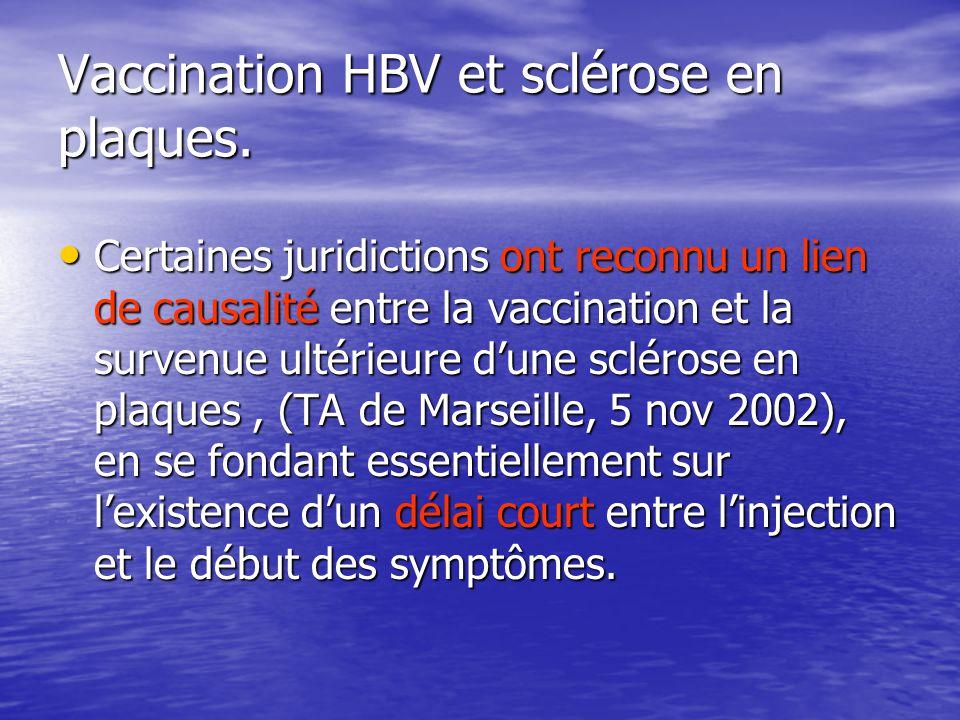 Vaccination HBV et sclérose en plaques. Certaines juridictions ont reconnu un lien de causalité entre la vaccination et la survenue ultérieure dune sc