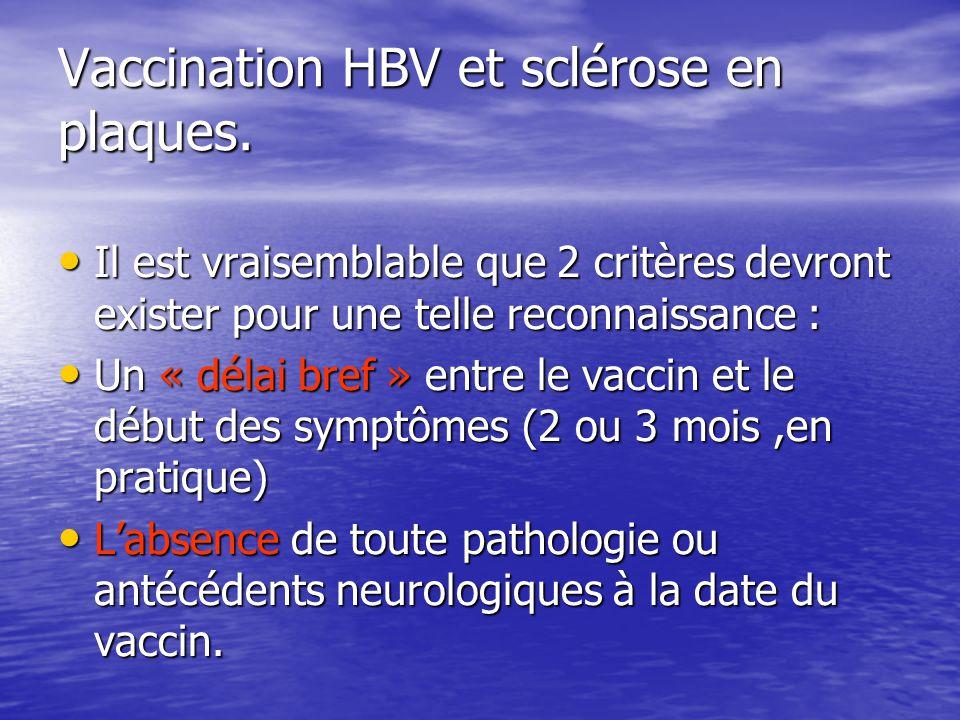 Vaccination HBV et sclérose en plaques. Il est vraisemblable que 2 critères devront exister pour une telle reconnaissance : Il est vraisemblable que 2