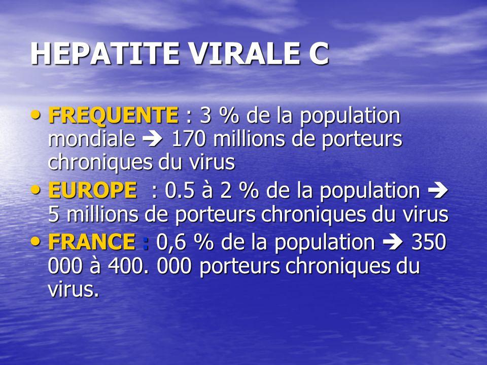 HEPATITE VIRALE C FREQUENTE : 3 % de la population mondiale 170 millions de porteurs chroniques du virus FREQUENTE : 3 % de la population mondiale 170