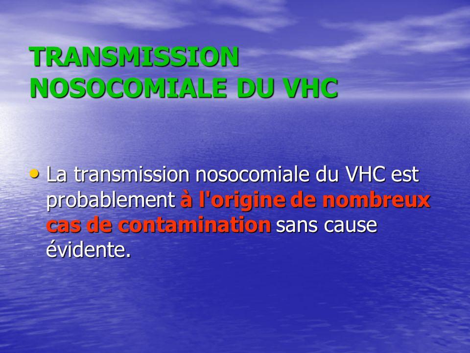 TRANSMISSION NOSOCOMIALE DU VHC La transmission nosocomiale du VHC est probablement à l'origine de nombreux cas de contamination sans cause évidente.