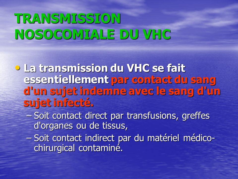 TRANSMISSION NOSOCOMIALE DU VHC La transmission du VHC se fait essentiellement par contact du sang d'un sujet indemne avec le sang d'un sujet infecté.