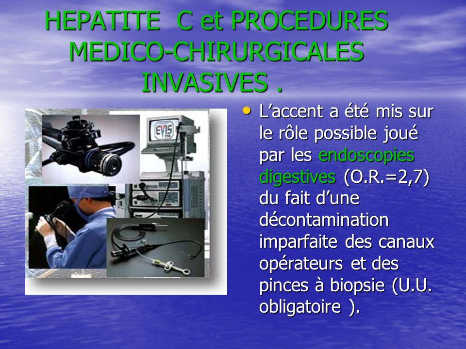 HEPATITE C et PROCEDURES MEDICO-CHIRURGICALES INVASIVES. HEPATITE C et PROCEDURES MEDICO-CHIRURGICALES INVASIVES. Laccent a été mis sur le rôle possib
